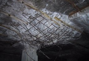 This is what the ceiling looks like after a 1000 pound aerial bomb lands on your roof!