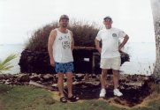 Perry Massie & Sam Galegor by Japanese pillbox on hotel grounds